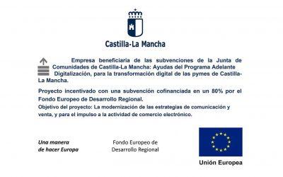 Camping Río Tus ha sido empresa beneficiaria de las subvenciones de la Junta de Comunidades de Castilla-La Mancha y los Fondos Feder